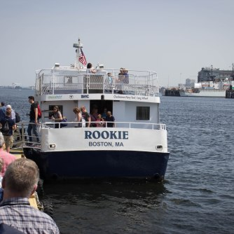 Taking the Ferry across the Charles River in the Boston Harbor